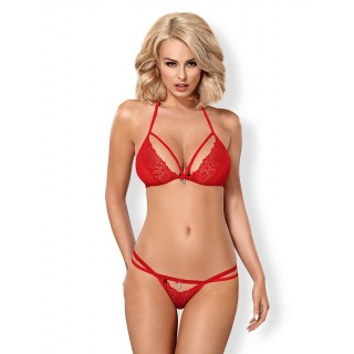 Obsessive - 838-SET-3 Set 2 Pcs Red S/M