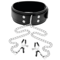 Darkness - Collar With Nipple Clamps Black
